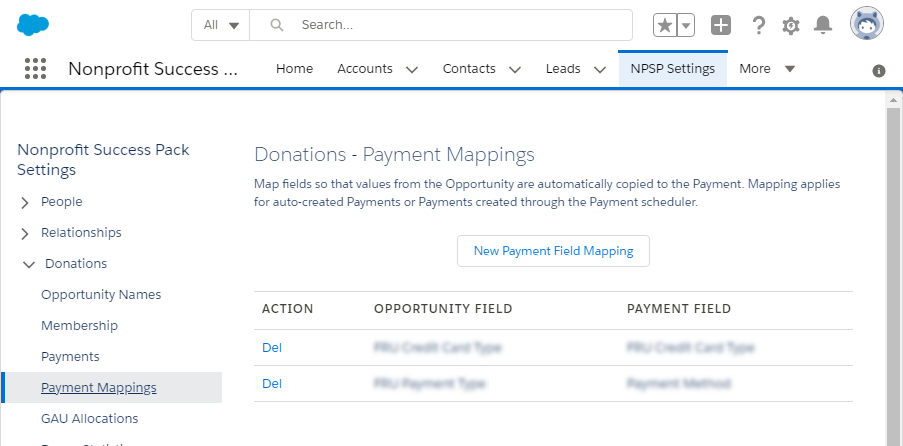 NPSP Success Pack - Payment Mappings